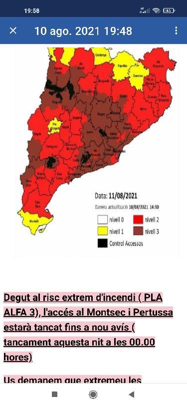 Restriccions a l'enlairament del Montsec
